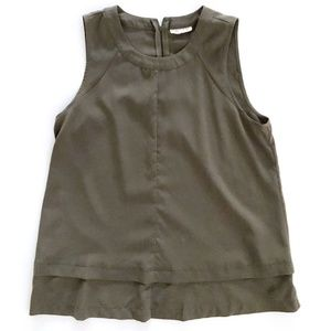 Maison Jules Women's Olive Sleeveless Blouse M/L